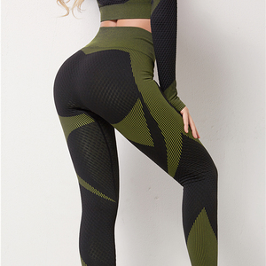 Image 4 - Women Long Sleeve Yoga Set Zipper Top Sport Suit Seamless Workout Clothes for Woman Workout Sportswear Gym Fitness Outfits,ZF287