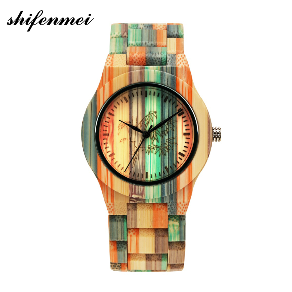 Men Women Fashion Colorful Wood Bamboo Watch Quartz Analog Handmade Full Wooden Bracelet Luxury Wristwatches Gifts Lovers