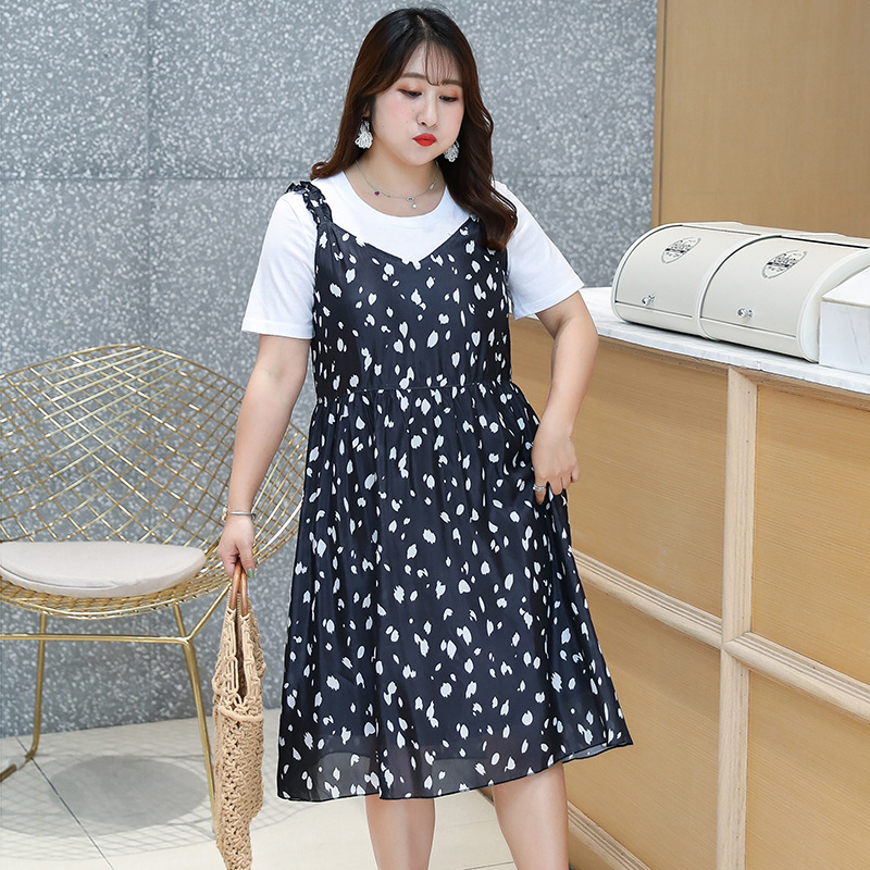 2019 Summer Wear New Style Large GIRL'S Plus-sized WOMEN'S Dress French Platycodon Grandiflorum Full Body Dress Two-Piece Set 18