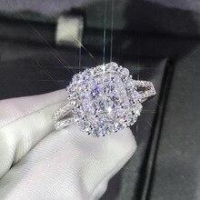 Роскошное блестящее серебряное кольцо с большим камнем и цирконием для женщин, обручальное блестящее кольцо, вечерние ювелирные изделия, модные женские кольца