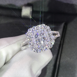 Luxury Sparkly Big Stone Zircon Silver Color Ring For Women Engagement Wedding Shiny Ring Party Jewelry Fashion Female 2019(China)