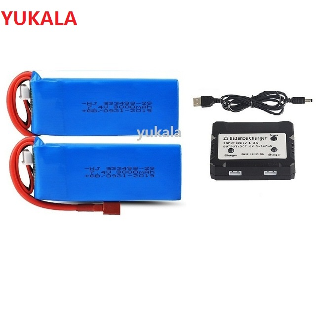 YUKALA  7.4V 3000mAh Upgrade Large Lipo Battery/USB For Wltoys 144001 1/14 RC Car 7.4 V 3000 Mah