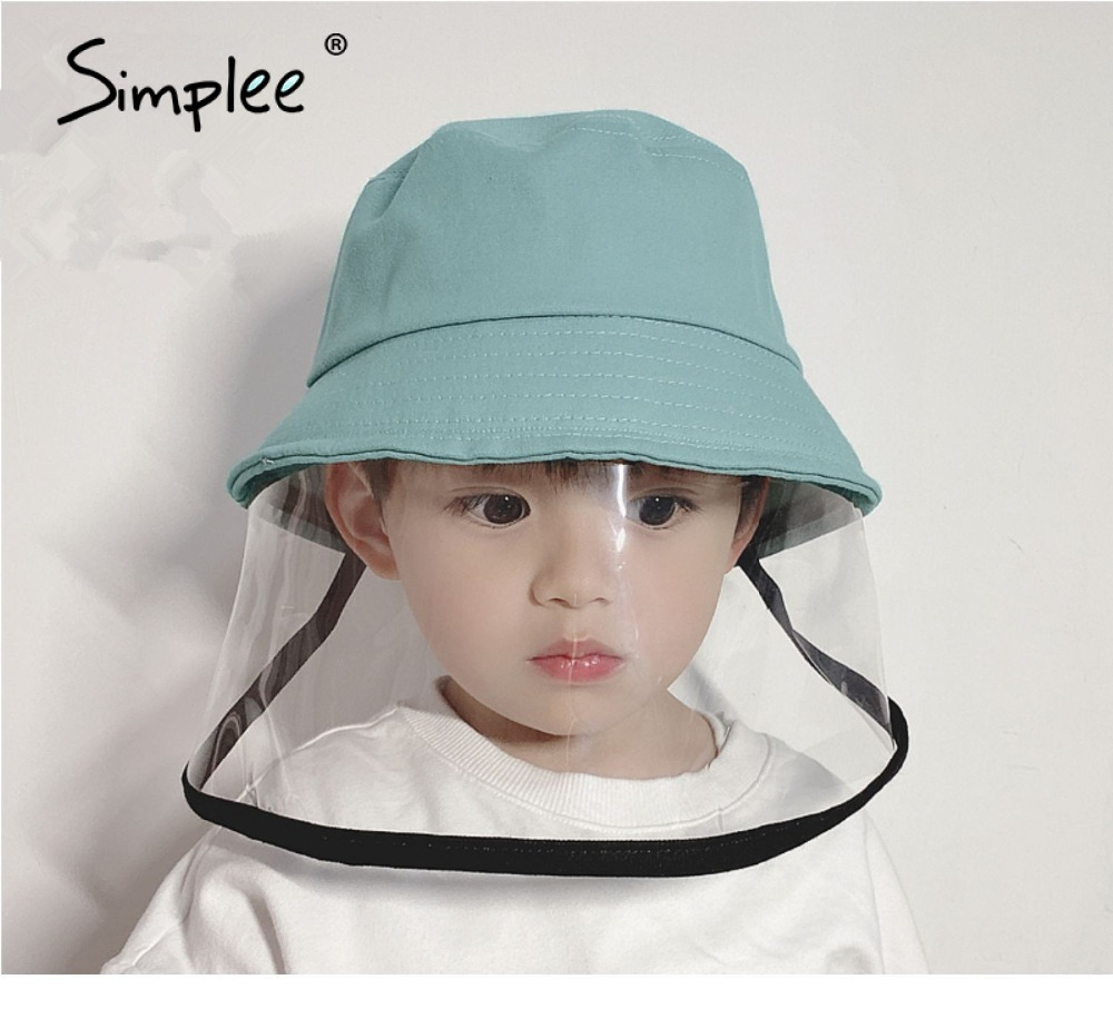 Simplee Kids Dust Cover Full Face Cap Bucket Hat Children Anti Protective Hat Droplets Spreading Prevent Caps Hat Outdoor Caps