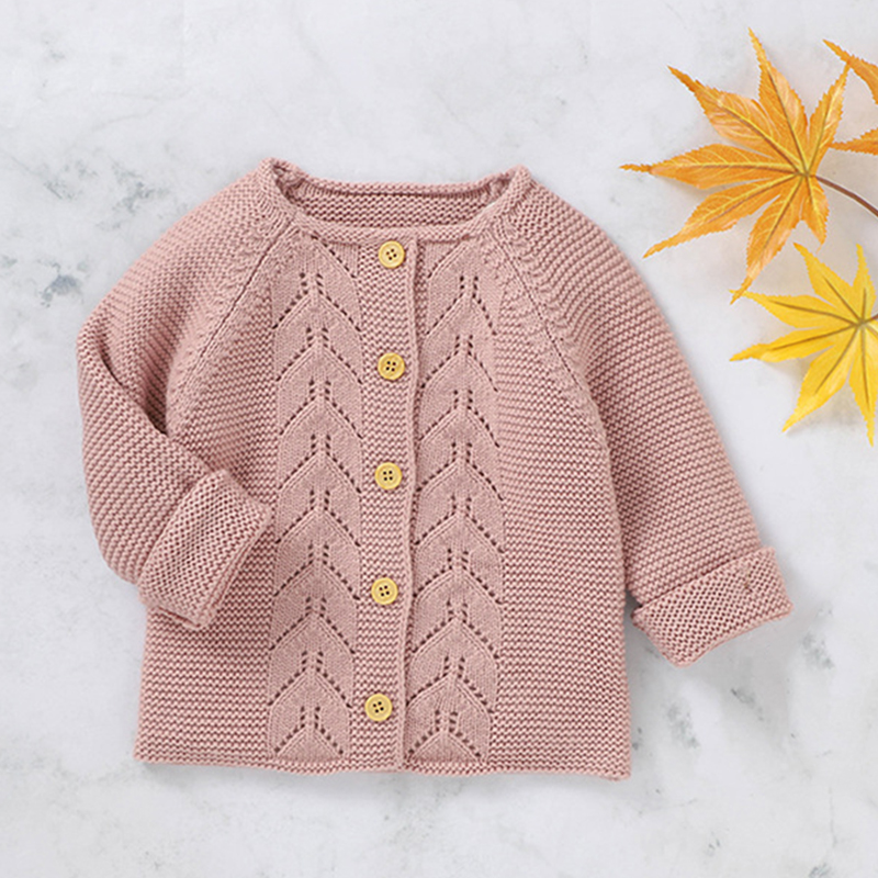 Newborn Baby Girl Clothes Sweater Knitted Cardigan Jacket Long Sleeve Pink Autumn Fashion Knitted Outcoat