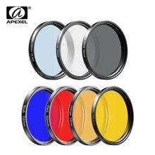 APEXEL 7in1 Full Color Filter Kit Full Blue Red CPL ND Star UV 37/52MM Filter Phone Lenses Camera Lens for Sony Cannon for Nikon