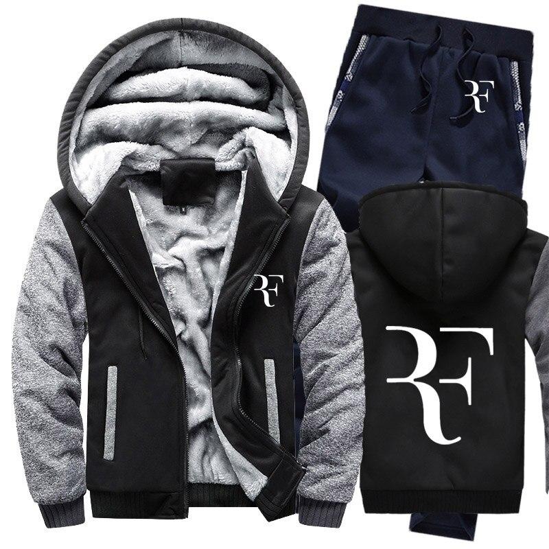Hoodies Men RF Roger Federer Printed Mens Hoodies Suit Winter Thicken Warm Fleece Cotton Zipper Tracksuit Mens Jacket+Pants 2Pcs