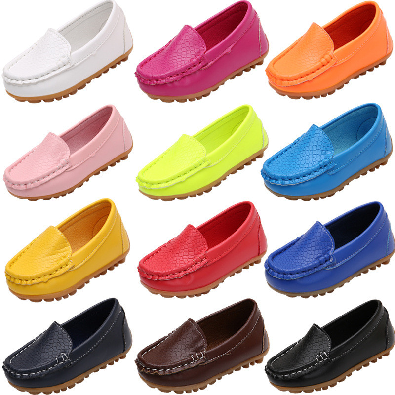 Boy Shoes Kids Size 21-37 Children Shoes Soft PU Leather Boys Loafers Solid Colors Soft Shoes Girls Moccasins Kids Shoes