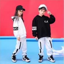 Детская крутая одежда в стиле хип-хоп белая куртка Толстовка Топ беговые повседневные штаны для девочек и мальчиков джаз танец бальный костюм одежда