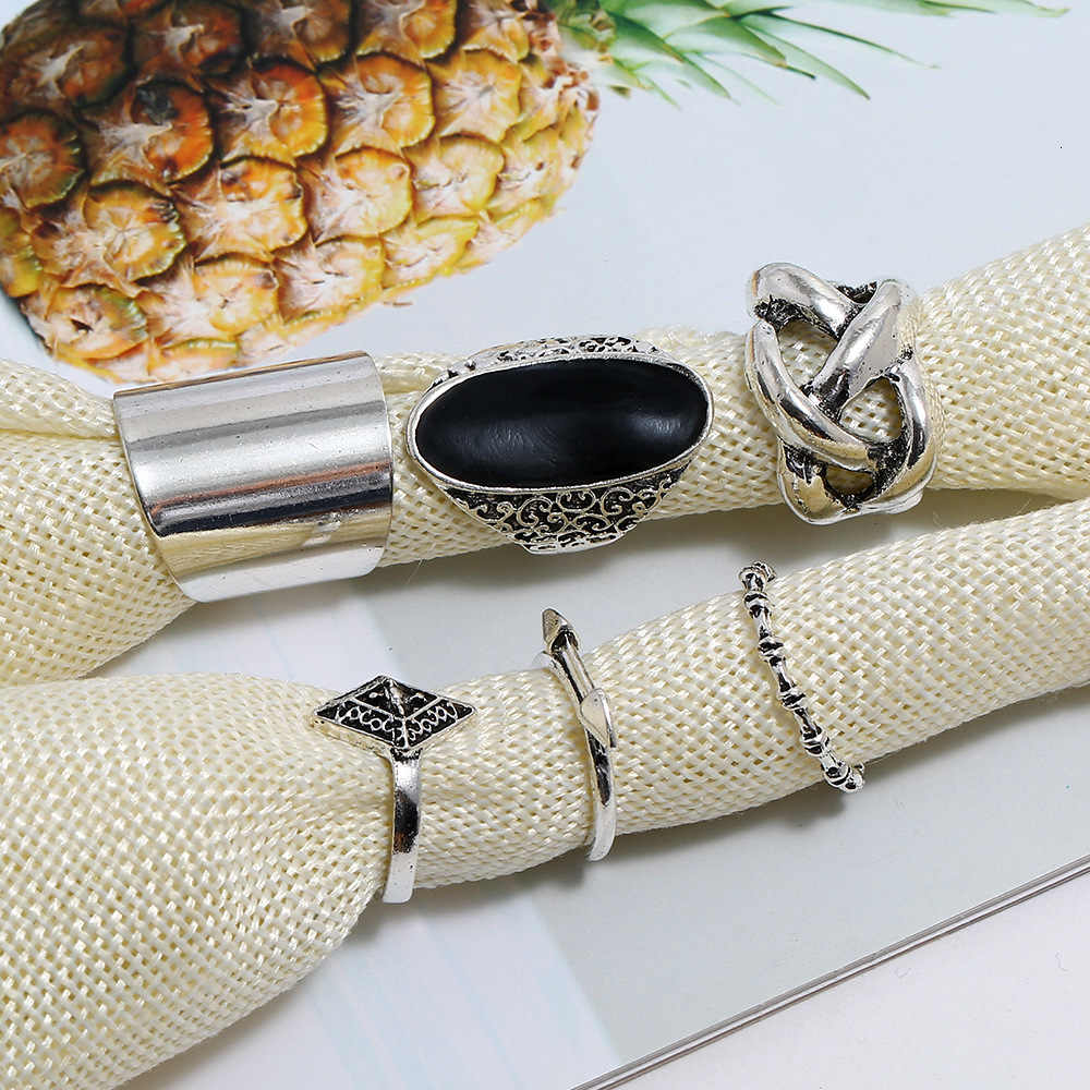 BW new pop Volcano Stone Ring Arrow Hollow Out 6 Paper Set Group Combine Ring rings for women anillos mujer boho 0444