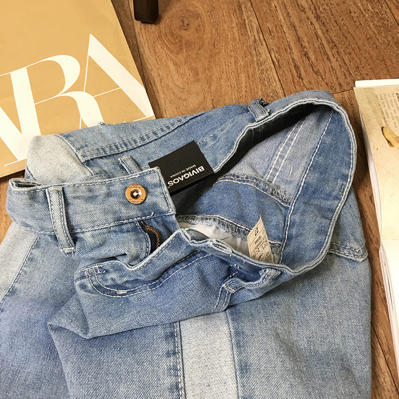 BIVIGAOS 19 New Spring Autumn Womens Cropped Jeans Korean Side Stitching Washed Denim Straight Pants Boyfriend Jeans For Women 19