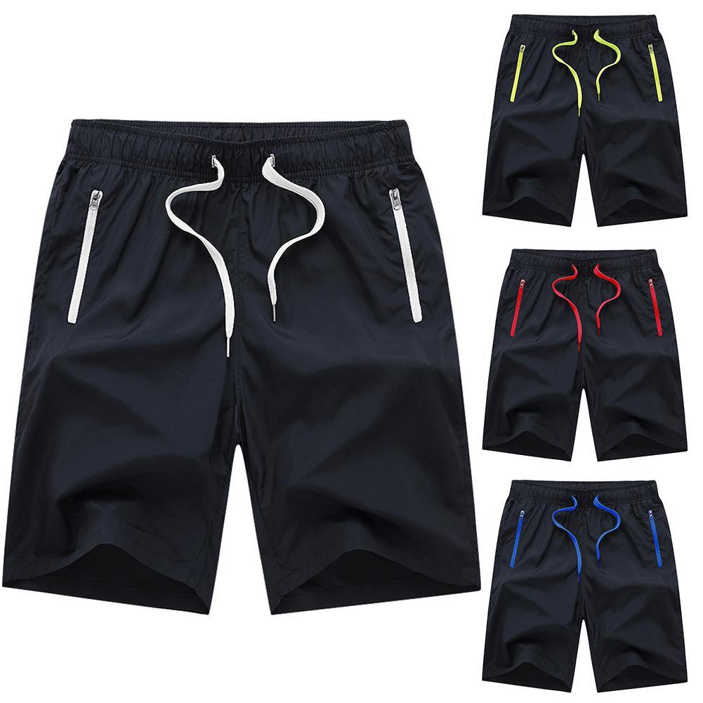 Summer Men Beach Sport Drawstring Fifth Pants Color Shortswith Zip Pocket 2020 Mens Sportswear Short Sweatpants Casual Shorts