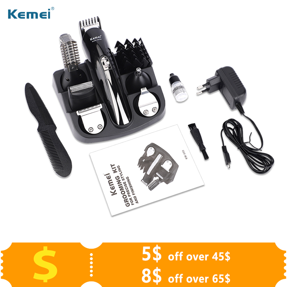 Kemei 11 In 1 Men Hair Clipper Trimmer Chargable Multifunctional Beard Nose Hair Trimmer Cutting Machine Electric Shaver Razor