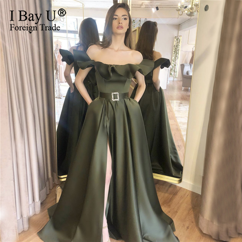 Dubai Puffy Off Shoulder Evening Dresses 2020  Sexy Evening Gowns Plus Size Muslim Formal Gowns Party Elegant For Women