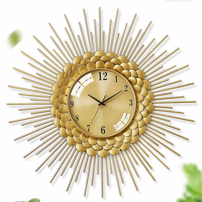 الذهب ساعة حائط فاخرة المعادن غرفة المعيشة الحديثة ديكور المنزل ساعات الحائط ديكور المنزل الشمال الساعات Horloge Murale هدية الأفكار FZ106