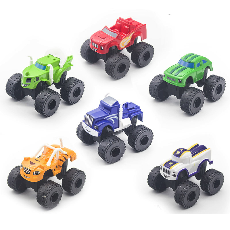 Racing Car 6PCS/SET Toy Blaze Monster Diecast Toy Racer Cars Trucks Action Figure OPP Bags For Kid Gift