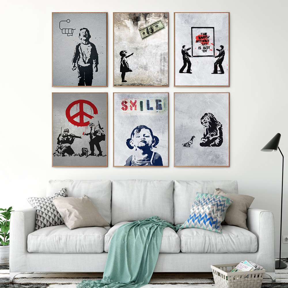 Banksy Graffiti Art Abstract Canvas Painting Posters and Prints Smile Quote Little Girl Boy Money Wall Canvas Picture Home Decor