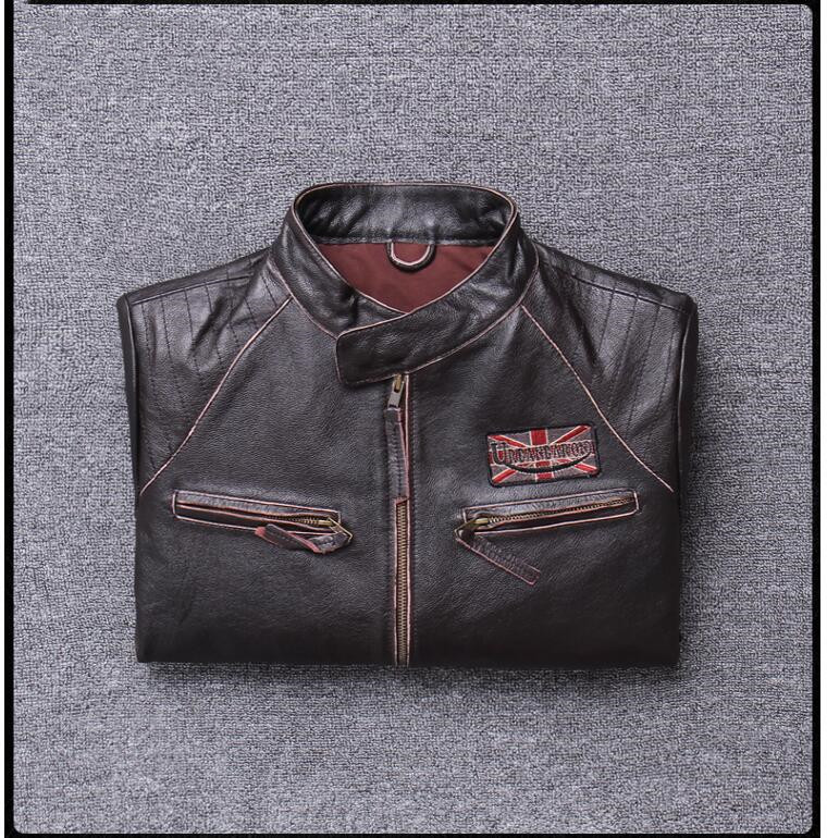H6d9c4edc41df4089ba41bcd21fb84d23a 2019 Vintage Brown Men Slim Fit Motorcycle Leather Jacket Plus Size XXXXL Genuine Cowhide Spring Biker's Coat FREE SHIPPING