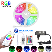 1M 2M 3M 4M 5M 10M 15M 12V LED strip RGB light waterproof luces led lights strips 5050 SMD Flexible tape Lamp Bluetooth control