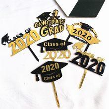 Adorno acrílico para tarta de fiesta de graduación, sombrero de graduación para tarta, sombrero de graduación, decoración de feliz bandera para tarta de cumpleaños, 2020
