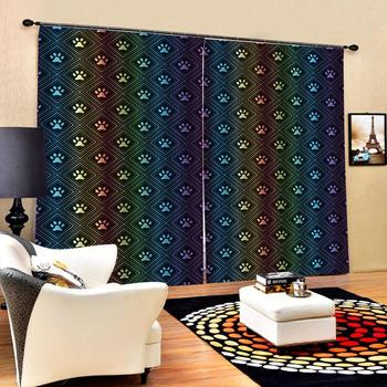 European 3D Curtains Color plaid pattern design Curtains For Living Room Bedroom Customized size