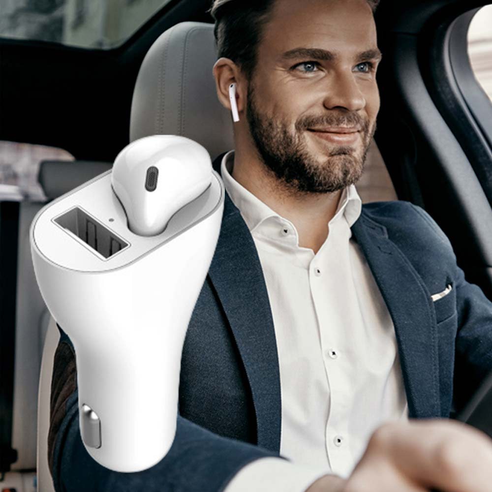 Universal Wireless Headphones Safe Vehicle Automatic Pairing Earbuds 2 In 1 Charger Apple Air Pod Bleutooth Earphone Bluetooth Car Kit Aliexpress
