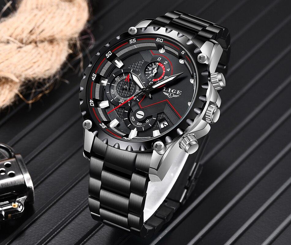 H6d9c760342c14d668279149148dfe5d7w LIGE Top Brand Luxury Mens Fashion Watch Men Sport Waterproof Quartz Watches Men All Steel Army Military Watch Relogio Masculino