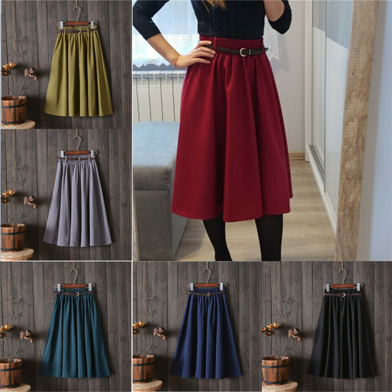 Retro Summer Women Elastic High Waist Skirts With Belt Casual Fashion Solid Flared Pleated Swing Midi Skirts OL Vintage Clothing