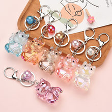 Fashion Cute Cat Pendant Key Rings Cartoon Acrylic Pet Key Chain Transparent Lucky Cat Car Bag Keychains Charms Jewelry Gift(China)