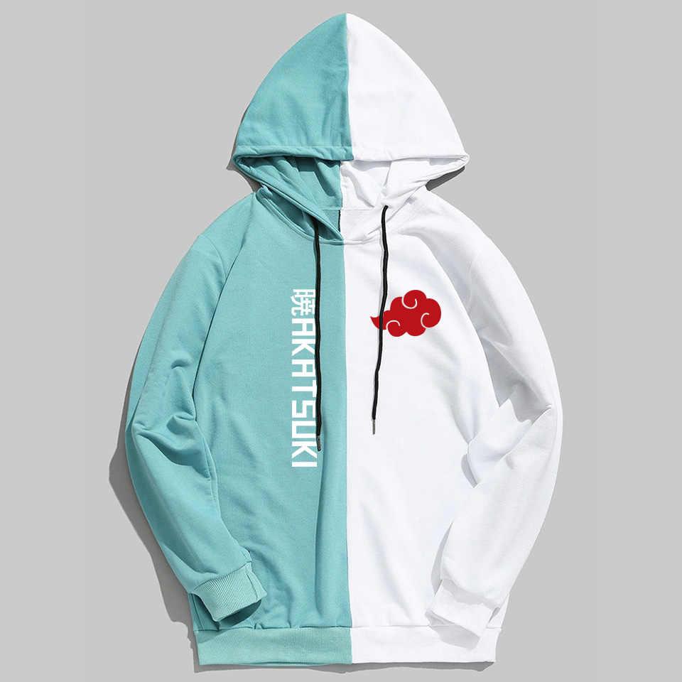Dwukolorowe bluzy Harajuku Anime naruto Akatsuki/Uchiha Itachi bluza z kapturem Streetwear Hip Hop Anime bluza z kapturem Sudadera