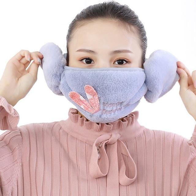 2 In 1 Rabbit Ear Earmuffs Kids Mouth Mask Windproof Mouth-Muffle Anti Dust Winter Children Anti Haze Flu Cotton Face Cover