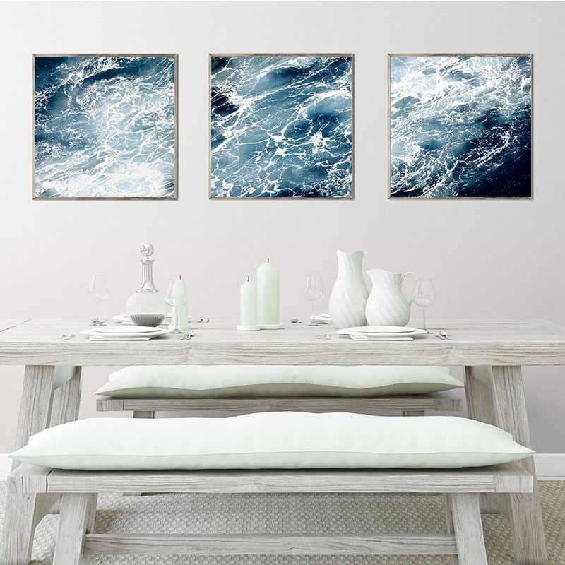 Modern Abstract Canvas Painting Blue Ocean Wave Wall Art Nautical Posters And Prints Pictures For Living Room Bathroom Decor Painting Calligraphy Aliexpress