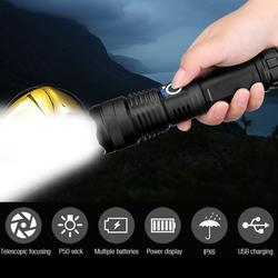 Isi Ulang Xhp50 Paling Kuat Senter LED USB Zoom Senter Set Outdoor Tahan Air Zoomable Lampu Sepeda