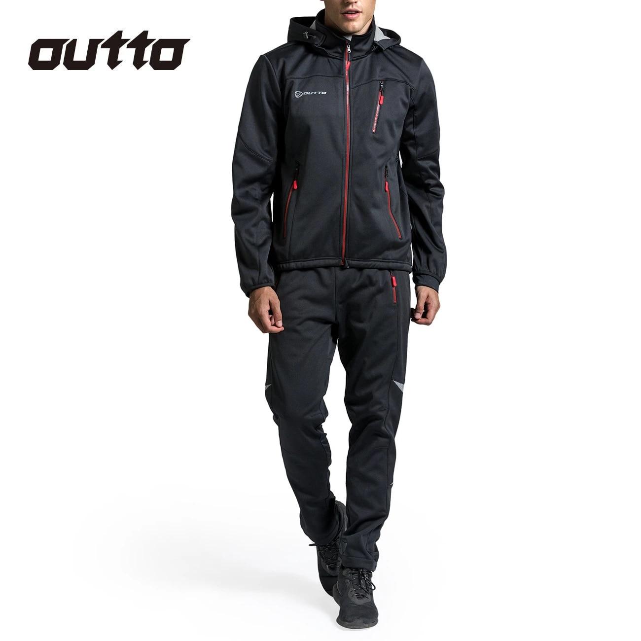Thermal Fleece Warm Cycling Jacket /& Pants Suit Winter Bike Windproof Clothing