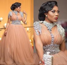 Luksusowe afrykańskie suknie wieczorowe wyszywana kryształkami Plus rozmiar suknie wieczorowe tiul linia długa wyjściowa sukienka na studniówkę 2020 robe de soiree tanie tanio ZuTouuoly V-neck Pociąg sweep Długość podłogi Poliester Mikrofibra -Line Formalna wieczór Zakładka Draped Ruched