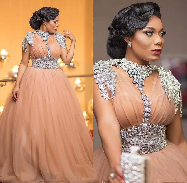 Luxury African Evening Dresses Beaded Crystal Plus Size Evening Gowns Tulle A Line Long Formal Prom Dress 2020 Robe De Soiree
