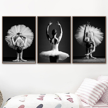 Black and White Elegant Ballet Dance Poster Prints Photo Nordic Style Girl Portrait Wall Art Pictures Home Decor Canvas Painting image