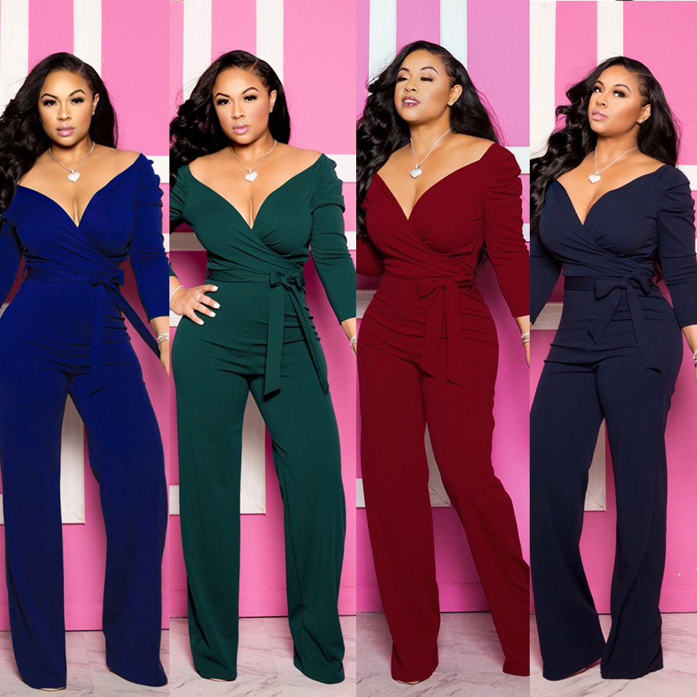 Europe And The United States New Fashion Temperament Commute Solid Color Sexy Slim Straps Deep V Long-sleeved Jumpsuit