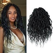 Yxcheris deusa sintética faux locs crochê trança cabelo boêmio locs 16 & 24 polegadas pre-looped ombre trança cabelo afro dreadlock