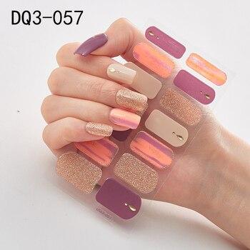 14pcs/sheet Glitter Gradient Color Nail Stickers Nail Wraps Full Cover Nail Polish Sticker DIY Self-Adhesive Nail Art Decoration 8