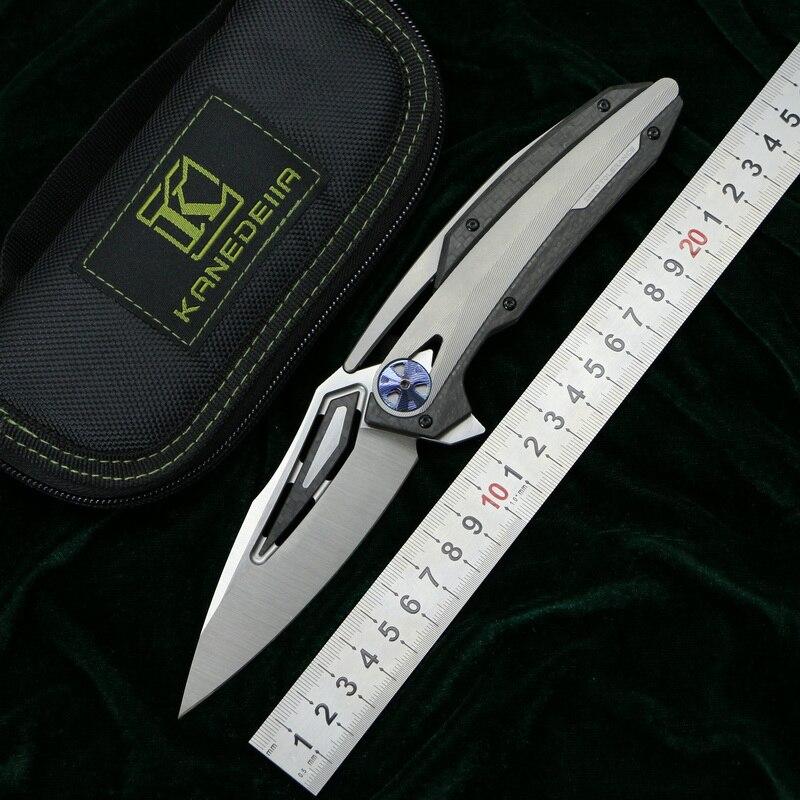 Kanedeiia ZT0999 couteau pliant M390 lame TC4 titane CF poignée utilitaire camping chasse survie couteaux de cuisine outil EDC