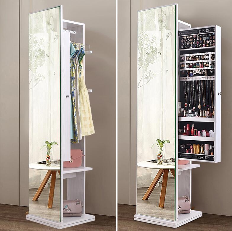 Wardrobe Mirror Full-body Floor-to-ceiling Mirror Simple Modern Sitting Room Cabinet Multi-functional Rotating Fitting Mirror