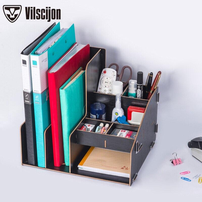 Bricolage barre de classement en bois bureau boîte de rangement de bureau dossier boîte de rangement tiroir boîte de rangement livre fichier boîte en bois étagère Vilscijon D2062