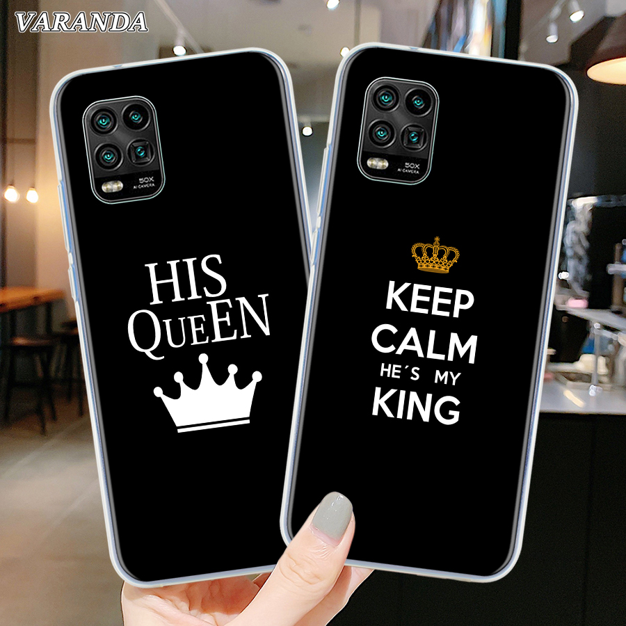 King Queen Lovers Silicone Phone Case For Xiaomi Mi Note 10 9 9T CC9 CC9E A3 10 Youth 10 Lite 10 Pro 5G Poco X2 Soft Shell Cover