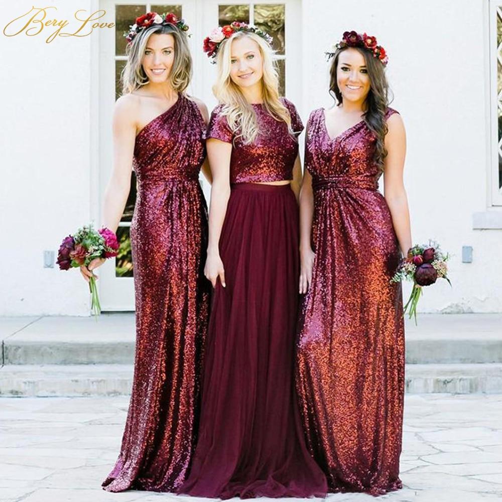 Burgundy Sequin Bridesmaid Wedding Party Dress Women Long Bridesmaid Dress 2019 One Shoulder Glitter Sparkle Guest Wedding Dress