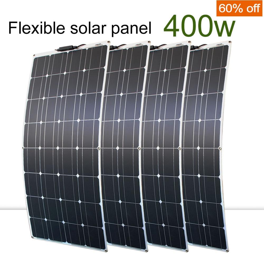 4 pièces 100 watt panneaux solaires haute qualité panneau solaire kit module 100 w flexible panneau solaire 200w 300w pour la maison rv toit bateaux