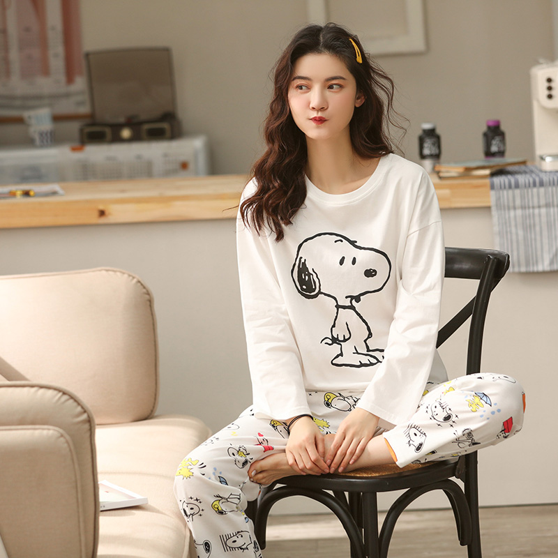 2020 Spring Women Home Wear Lounge Clothes Long Sleeve Cartoon Cotton Pajamas Sets Sleepwear Girls Homewear Housewear