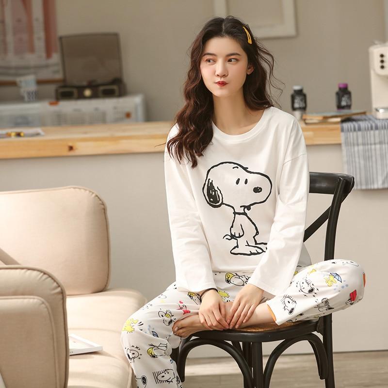 2020 Spring Women Home Wear Lounge Clothes Long Sleeve Cartoon Cotton Pajamas Sets Sleepwear Girls Homewear Housewear