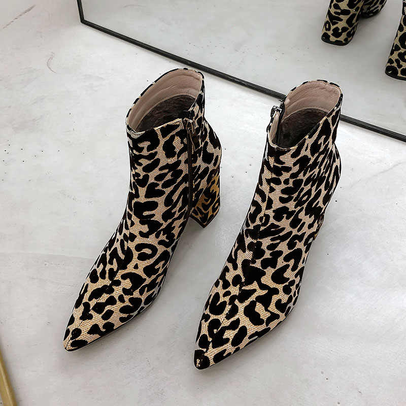 Women Leopard Warm Thick Fur Plush Pointed Toe Ankle Boots Zip High Heels Shoes Boots Woman Winter Lady Snow Boots Fashion