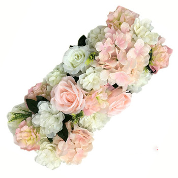 50cm Wedding Road Cited Flowers Silk Rose Peony Hydrangea DIY Curved Door Flower Row Window T-station Wedding party Decoration image