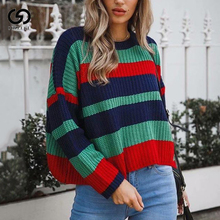 New Rainbow Stripes Women Sweater Winter Warm Knitted Loose Jumper Tops Fashion